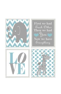 Nursery Art Elephant Giraffe Chevron Polka Dot  Prints - Aqua Sea Green Gray Wall Art  Love Baby Boy Decor First We Had Each Other Quote