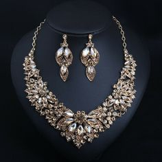 Luxury Prom Wedding Bridal Crystal Rhinestone Necklace Earrings Jewelry Set Gift | eBay Rhinestone Necklace, Glass Necklace, Crystal Necklace, Crystal Rhinestone, Necklace Set, Necklace Types, Necklace Lengths, Chain Necklaces, Costume Jewelry Sets