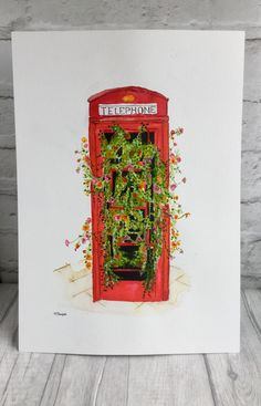 Recycled telephone box from a friends photo. Watercolour