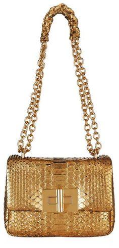 Tom Ford Small Soft Natalia Metallic Python Shoulder Bag