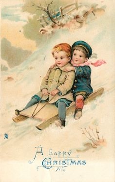 A HAPPY CHRISTMAS  boy & girl sledding down-hill