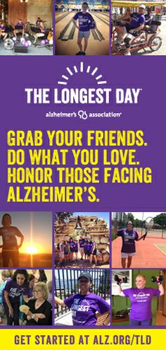 The Longest Day is an exciting team fundraising event of the Alzheimer's Association. On Saturday, June 21, 2014, teams across the globe join together to honor those facing Alzheimer's disease with passion, endurance and love. From sunrise to sunset, teams participate by doing what they love, trying something new or selecting an activity that honors a friend or family member.