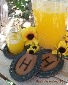 MADE to ORDER Horseshoe and Leather Coasters by RusticHorseShoe