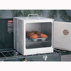Coleman - Camp Oven is great for baking & keeping food warm. It is designed to fit 2 or 3 burner Coleman propane campstoves. 10 in. square rack adjusts to 3 cooking heights. It folds flat for convenient, space-saving storage.     Easy to read thermometer     Corrosion-resistant, smooth, aluminized steel finish cleans easily