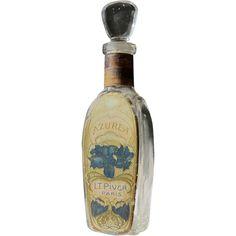 Perfume Bottle L.T. Piver French Commercial Bottle Great Label Azurea 1907