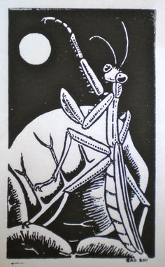 Mantis and Moon Insect Lino Block by OniOniOniArt