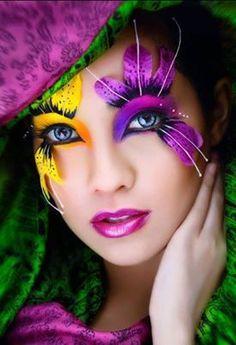 fantasy makeup using pink feathered eyelashes - Google Search