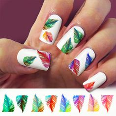 Raimbow feather, nail art, nail decal, set of 60 waterslide nail decal  #pear021