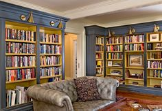 Bermuda blue home library housing a Chesterfield Sofa 40 Home Library Design Ideas For a Remarkable Interior << Love the wall colour! Home Library Design, Home Office Design, House Design, Library Ideas, Library Inspiration, Children's Library, Dream Library, Blue Bookshelves, Built In Bookcase