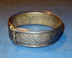 "Bracelet Vintage Cuff Afghan Kuchi Tribal Alpaca Silver 2.25"" dia"