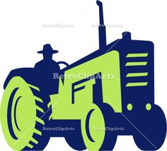 Organic Farmer Driving Vintage Farm Tractor Vector Stock Illustration. Illustration of an organic farmer wearing hat driving vintage farm tractor viewed from low angle set on isolated white background done in retro style. #illustration  #OrganicFarmerDriving