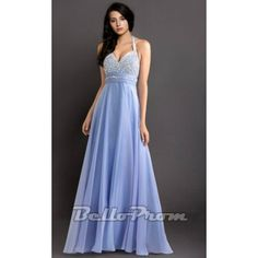 Blue Long Halter Evening Chiffion Gown A4157  Price: $189.00  Buy now enjoy -10% Discount at BelloProm.com.