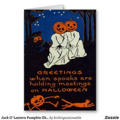 Jack O' Lantern Pumpkin Ghost Costume Cat Greeting Card