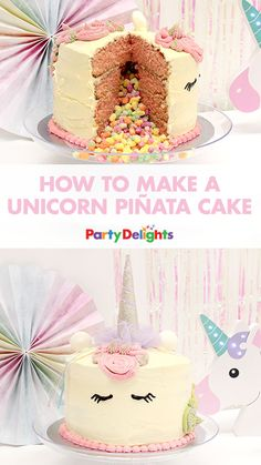Throwing a unicorn party? This unicorn piñata cake will be the cherry on top of your party decorations and it's much easier to make than you'd think! Read our step-by-step tutorial and browse more unicorn party ideas on our blog.