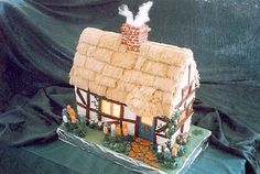 Former Runner-Up Winner For her gingerbread cottage, Britta M. Peterson of San Jose, CA, simulated a thatched roof, smoking chimney, and a warmly lit interior.