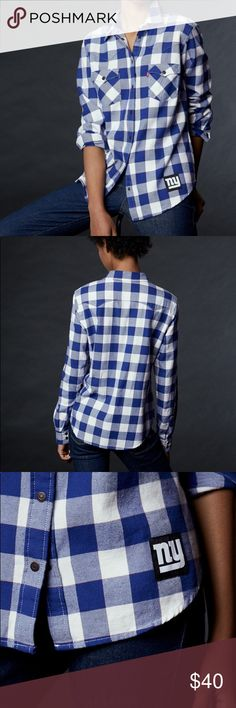 LEVI'S® NFL GIANTS PLAID WESTERN SHIRT Open to offers :)  Finish out the season and show your team pride — with brand new gear. Levi's® official licensed NFL Collection combines timeless Levi's® style with classic sports apparel that looks sharp any day of the week, especially game day. The Levi's® NFL Buffalo Western Shirt is based on one of Levi's most iconic garments. For women's fan gear, it's not always about pink — so this shirt features the New York Giants colors, in a distinctive…