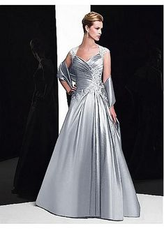 Alluring Taffeta Queen Anne Neckline Floor-length A-line Mother Of The Bride Dress