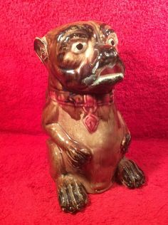 Antique Majolica Figural Pug Dog Pitcher c.1800's, gm913 #FiguralPugDogPitcher #Staffordshire
