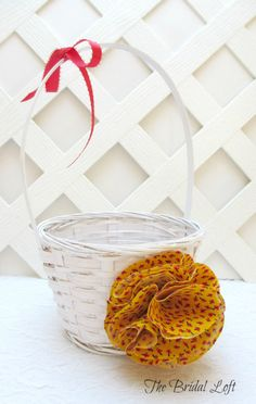 Yellow Flower Girl Basket, Red Yellow Black Wedding Basket, Matching Items Available!, by BridalLoft