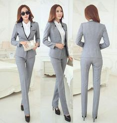 Cheap formal pantsuit, Buy Quality business woman suit directly from China womens business suits Suppliers: New Elegant Grey 2015 Autumn Winter Business Women Suits Jackets And Pants Formal Pantsuits Female Work Wear Office Ladies Sets Classy Winter Outfits, Winter Outfits For Work, Trendy Outfits, Work Outfits, Business Outfits Women, Business Women, Business Wear, Business Clothes, Work Wear Office