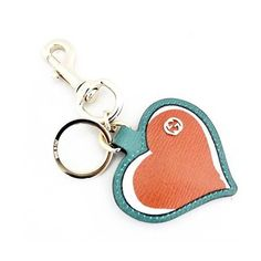 GUCCI  Gucci 338795 AQ60G Gucci Leather Interlocking GG Heart Key Ring Chain