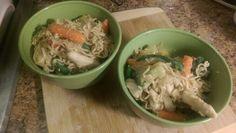 Homemade chicken lo mein in my own wok. Ramen noodles, soy sauce, fresh ginger, garlic, honey, steamed veggies and chicken breast