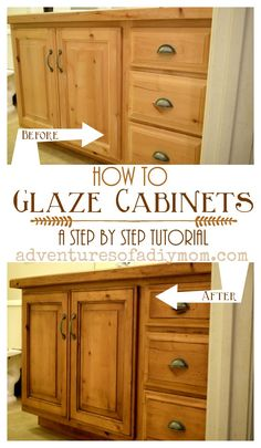 How to Glaze Cabinets with Gel Stain : Glazing cabinets is an easy way to update the look and feel of your space. Learn how to update your cabinets with this step by step tutorial. Using a gel stain as the glaze requires minimal work and maximum results. Glazing Cabinets, Glazed Kitchen Cabinets, Painting Kitchen Cabinets, How To Stain Cabinets, Kitchen Counters, Restaining Kitchen Cabinets, Cabnits Kitchen, Cabinet Stain Colors, Honey Oak Cabinets