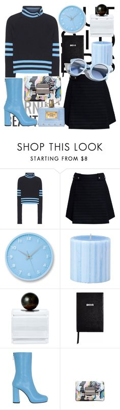 """Light blue and black"" by tiraboschi-b ❤ liked on Polyvore featuring Versace, Rumour London, Lemnos, Jan Barboglio, Sloane Stationery, MSGM and Pinko"