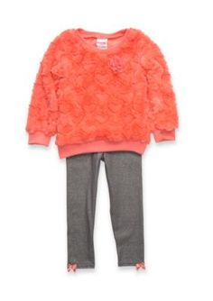 Nannette Girls 4-6X Coral Heart Embossed Faux Fur Set - Coral - 6X