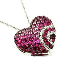 14K White Gold Diamond and Pink Sapphire And Ruby Heart Shapped Necklace