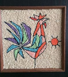 Vintage MID CENTURY GRAVEL PEBBLE ART  Good Morning Rooster!
