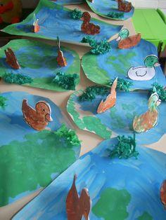 Eenden in de vijver - het lelijke eendje Preschool Crafts, Preschool Activities, Farm Kids, World Water Day, Little Duck, D Craft, Kids Artwork, Kindergarten Art, Easter Crafts For Kids