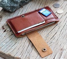 Bravo-branch brown leather iphone wallet от SakatanLeather на Etsy