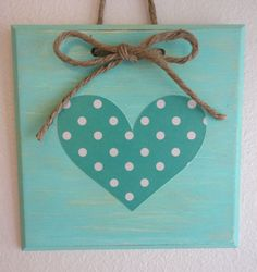 Wooden Plaque. Teal with Polka Dot Heart & Jute Twine Bow
