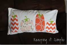 Keeping it Simple: Fabric Fall pumpkin pillow created with my Silhouette
