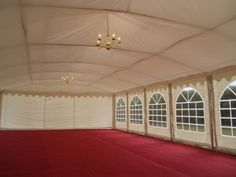 Flat Fitted Roof Lining. Velcro Hatches For Hanging Lights Through. British Standards, Roof Lines, Marquee Wedding, Hanging Lights, Commercial, Fire, Doors, Chandeliers, Interior