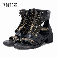 e43f1c278a6 Jady Rose Black Female Gladiator Sandals Square Heel Genuine Leather  Sandalias Mujer Platform Women Pumps Front Zip Summer Boots