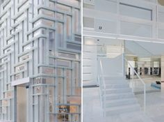 (left) entrance to the store  (right) frosted glass acrylic-covered stairs - Coach flagship store - Tokyo  images © iwan baan