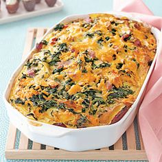 Cheddar, Ham and Spinach Strata | MyRecipes.com  - easy prep to throw 2 of these, together. Eight servings per dish. Add salad or fruit as side.