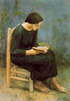 Josefina leyendo. 1953. Obra de Antonio López García