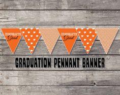 Graduation Party Decoration - Banner - Orange - Printable - Instant Download on Etsy, $5.00