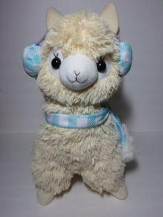Rare-Alpacasso-Beige-Alpaca-Blue-Earmuff-Scarf-45cm-Plush-Amuse-Arpakasso-Anime