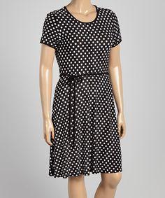 Loving this Black & White Polka Dot Tie-Waist A-Line Dress - Plus on #zulily! #zulilyfinds