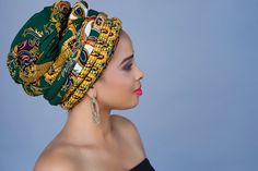 335-04 African Wax Print Turban Dreads Wrap, Green Gold Black Head Wrap, Alopecia Scarf, Chemo Hat, Boho Gypsy Tribal, One Piece Wrap - pinned by pin4etsy.com