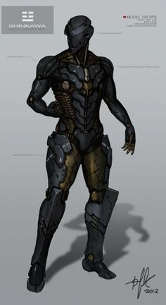 sci-fi character *Note, modify the knee side armor plates - Androids Robot Concept Art, Armor Concept, Suit Of Armor, Body Armor, Fantasy Armor, Sci Fi Fantasy, Science Fiction, Rpg Star Wars, Futuristic Armour