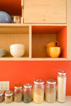 Kitchen cabinet close-up shot. Euro plywood cabinets by Kerf Design in Seattle, WA