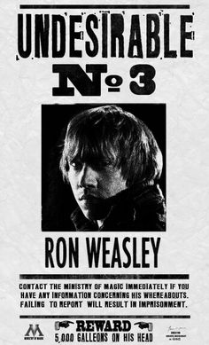 Ron Weasley Undesirable No. 3 The Deathly Hallows - Google Images