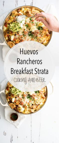 Huevos Rancheros Breakfast Strata – Cooking and Beer Put a large fun twist on your next breakfast casserole with this huevos rancheros breakfast strata. It's popping with flavor and perfect for a crowd! Breakfast Strata, Breakfast For Dinner, Breakfast Dishes, Breakfast Time, Breakfast Ideas, Breakfast Cooking, Breakfast Pizza, Free Breakfast, Brunch Ideas