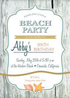 Beach Birthday  Invitation (DIGITAL FILE) PERSONALIZED