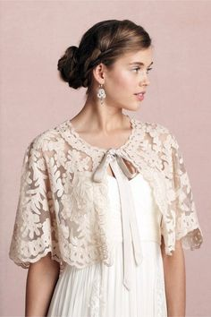 Boulevardier Capelet, Rich, heavy, lace make for a very feminine look with the tie neck. Wedding Cape, Bridal Cape, Wedding Bolero, Lace Wedding, Lehenga, Capelet, Kitenge, Cheongsam, Ball Gowns